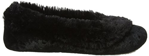 Isotoner Crushed Velour Ballet Slippers, Pantofole Donna Nero (Black)