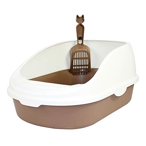 DZL - Lettiera Aperta per Gatti, 56 x 39 x 26 cm, Vassoio Sanitario in plastica con Paletta, per Gatti e Animali Domestici