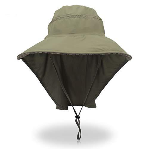 Outdoor Sun Protection Fishing Cap Neck Flap Wide Brim Sun Hat Travel Camp Hiking Hunting Boat Safari Cap Adjustable Drawstring for Men Women.Momoon -