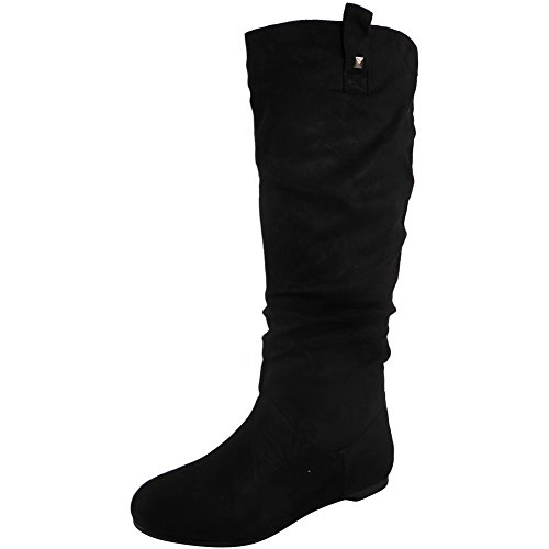 WOMENS PIXIE MID CALF ROUCHED FLAT PULL ON KNEE LONG LADIES SLOUCH BOOTS SIZE 3-8 (6, BLACK SUEDE)