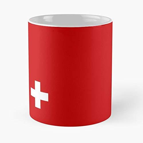 Swiss Cross National Flag - Funny Gifts For Men And Women Gift Coffee Mug Tea Cup White-11 Oz. - Blue Womens Grafik