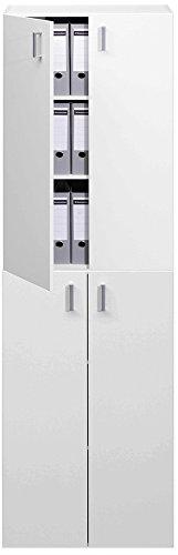 TRIO Standregal Bücherregal Bücherschrank Regal Mehrzweckschrank Schrank mit 2 Türen - 115,5cm - weiß - 5