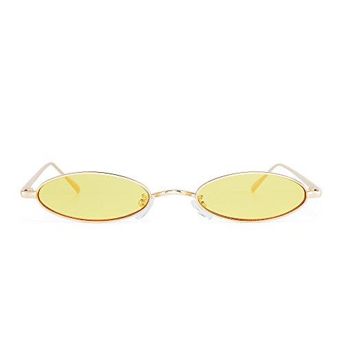 JIM HALO Klein Oval Metall Sonnenbrille Retro Schlank Saubere Linse Getönte Brillen Herren Damen (Gold/Gelb)