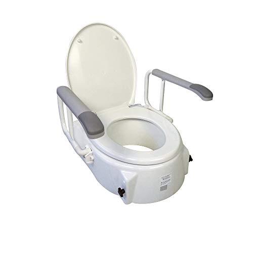 Mobiclinic, Toilettensitzerhöhung, Modell Muralla, Armlehnen, Deckel, Höhenverstellbar in 3 Positionen (5, 9 und 12,5 cm)