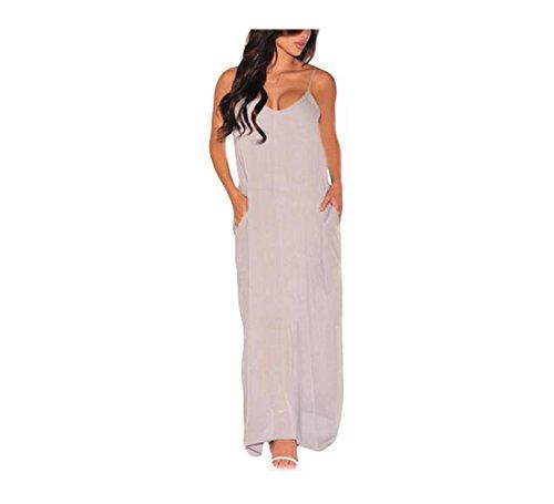 PU&PU Femmes Casual / Sorties / Beach Straps Halter V Neck Robe Maxi, Doublure Ouverte Retour Black