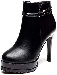 fe8a27b2 LBTSQ-Zapatos De Tacon Alto De Moda De Broma Fino Tacón Botas Cortas Cabeza  Redonda