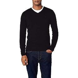 Tom Tailor Basic V-Neck Sweater, suéter para Hombre, Negro (Black 2999), Large