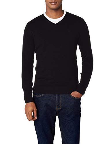 TOM TAILOR Herren Pullover Basic v-Neck Sweater, Schwarz (Black 2999), XX-Large