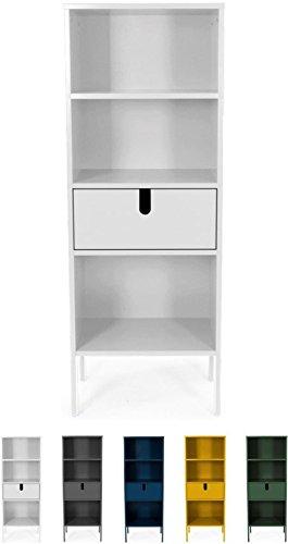 tenzo 8562-001 UNO Designer Étagère 1 tiroir, Blanc, MDF Particules ép. 19 et 16 mm Panneau arrière laqué. Poignées en matière Plastique, 152 x 56 x 37 cm (HxLxP)