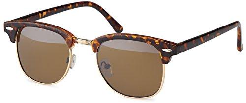 Herren vintage Sonnenbrille im 60er retro Browline-Style mit markantem Halbrahmen