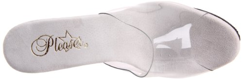 Pleaser ILLUSION-651 Damen Plateau Pantolette Silber Chrom