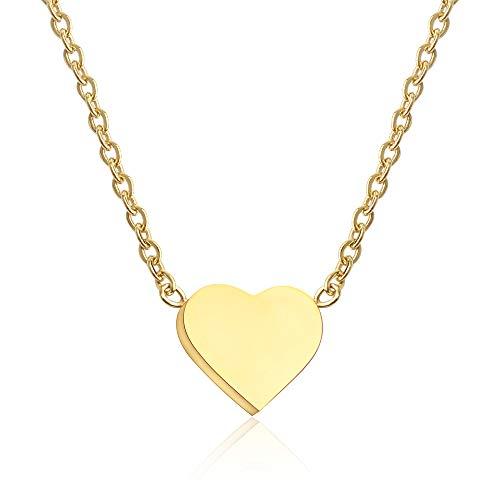 GD GOOD.designs EST. 2015 ® Damen Halskette mit kleinem Herz-Anhänger (Gold) Herz Kette ohne Gravur