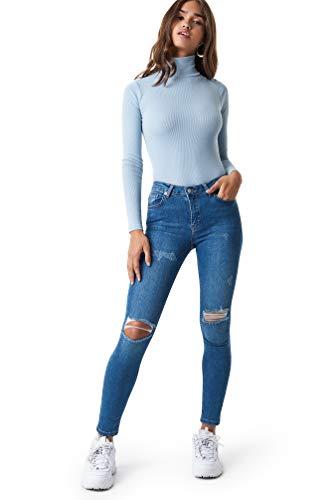 NA-KD - Damen Skinny Mid Taille Ripped Destroyed Jeanshosen Blau