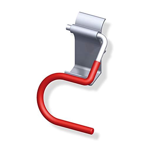 Gedotec Ski-Halter Organisation Ersatz-Gerätehalter Ordnung Wandhalter für Wandprofil | Tragkraft 10 kg | Stahl blank - Wandhaken rot gummiert | 1 Stück