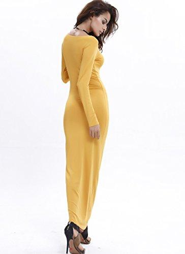 Moollyfox Femmes Élégant Manches Longues Col Rond Longue Robe Orange Jaune