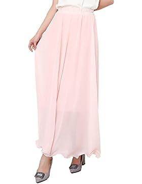 FEOYA Falda de Gasa Larga Maxi para Mujer de Gasa Cintura Alta Skirt Elástica Bohemia Dobladillo Verano