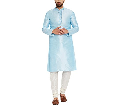 Royal Sojanya Men's Dupion Silk Kurta Churidaar With Self Brocade Design In Front X-Large Aqua Blue And Cream (Kurta Brocade)