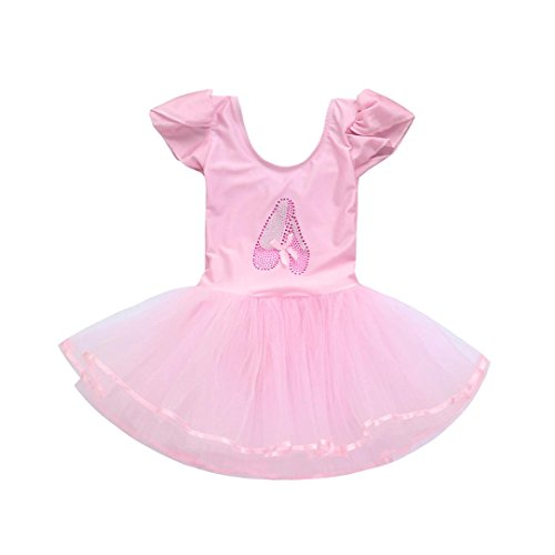 SHOBDW Childrens Performance Clothing, Toddler Girls Kids Gauze Leotards Ballet Bodysuit Dancewear Party Show Tutu Skirt Cosplay Dress Outfits