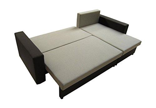 LUX Ecksofa mit Schlaffunktion und Bettkasten in L-Form