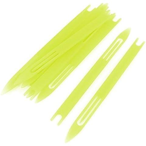 10 piezas de plástico amarillo red de pesca de la aguja de reparación Traslados bobina 4 #