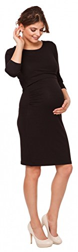 Happy Mama. Damen 2in1 Umstands Still-Bleistiftkleid Lagendesign 3/4 Ärmel. 972p Schwarz