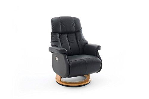 Elektrisch Verstellbare Leder (lifestyle4living Relaxsessel XL aus Leder in Schwarz   Fernsehsessel ist 360° drehbar und hat elektrisch verstellbare Rückenlehne   Sessel lädt zum Entspannen EIN)