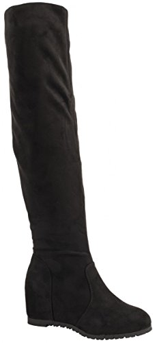Elara Damen Keilabsatz Stiefel | Overknee Stiefel | Hidden Wedges Schwarz New York