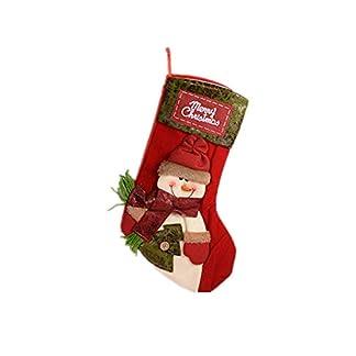 Weiqiao® Calcetines de Navidad de Tela bajo Colgante, diseño de Papá Noel, muñeco de Nieve, decoración de Fiesta para árbol de Navidad