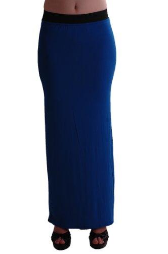 EyeCatch - Keira Jersey Extensible Maxi Longue Jupe Royal Bleu