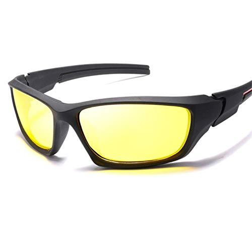 AOCCK Sonnenbrillen,Brillen, HD Polarized Sunglasses Men Night Vision Driving Sports Sun Glasses Women Vacation Luxury Brand Design Gafas De Sol 6-Black-Yellow