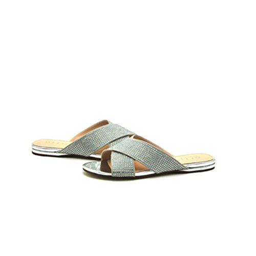 QPYC Sandali tacco piatto con strass donna con scarpe incrociate Comodi  sandali piatti romani gray ...