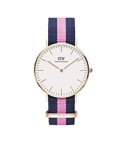 Daniel Wellington - 0505DW - Winchester - Montre Mixte - Quartz Analogique - Cadran Rose - Bracelet Nylon Multicolore