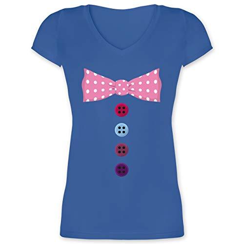 (Karneval & Fasching - Clown Kostüm rosa Fliege - XL - Blau - XO1525 - Damen T-Shirt mit V-Ausschnitt)