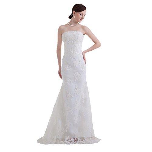 Jspoir Melodiz da donna, con fodero, colonna senza spalline abito da sposa in Tulle bianco 48