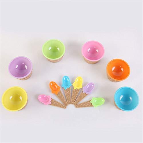 8Eninine Lebendige Farben Eisbecher mit Löffel PP Kunststoff Dessertschüssel Joghurt Cups