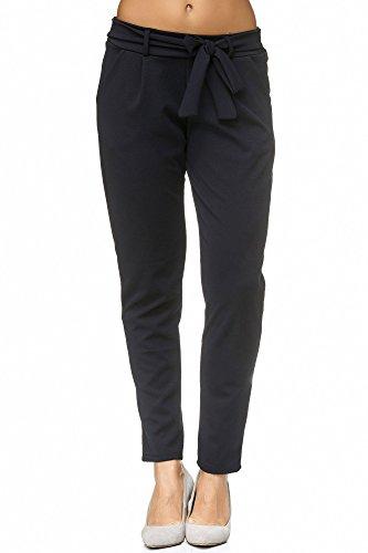 JillyMode Elegante Damen Tie Waist Skinny Hose Stretch mit Schleife in vielen Farben erhältlich (H152-Marineblau-XXL) -