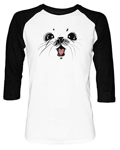 Ghus Saga Comic Fantacy Herren Damen Unisex Baseball T-Shirt Weiß Schwarz 2/3 Ärmel Women's Men's Unisex Größe S Men's White T-Shirt Small Size S