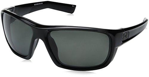 Under Armour Men's Ua Launch Round Sunglasses, (Ansi) Shiny Black Frame / Gray Polarized Lens, 64 mm