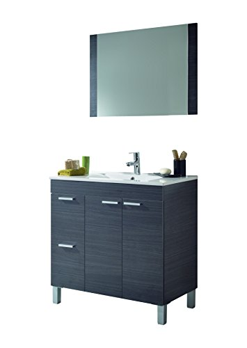 Arkitmobel Aktiva – Mueble de baño, 80 x 80 x 45 cm, color gris ceniza