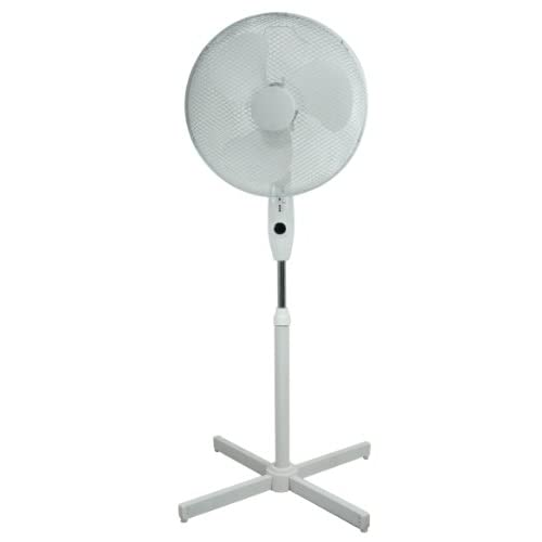Prem-i-air 16″ Pedestal Fan Oscillating 3 Speeds + Remote Control (Black)
