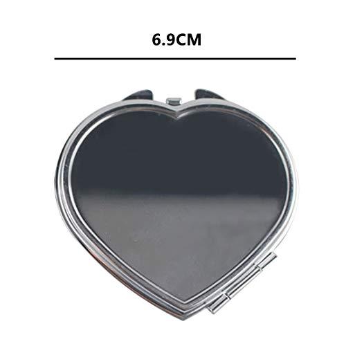 Edelstahl Metallspiegel Tragbarer Kosmetikspiegel Rundes Quadrat Herz Oval Mini Klappspiegel Taschenspiegel Beauty-Accessoires Schminkspiegel (Color : Heart shape)