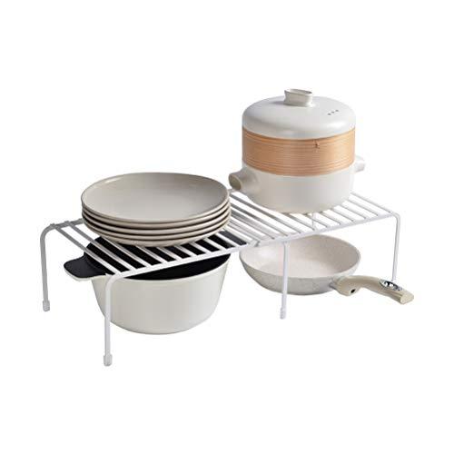 Kitchen furniture - Blanc escamotable d'étagère de stockage de fer forgé de support à la mode simple de cuisine WXP