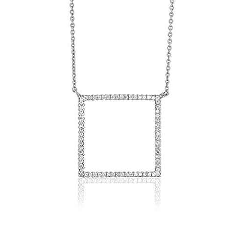 Ingenious Jewellery Sterling Silver Open Pave Square Necklace N3464/SIL
