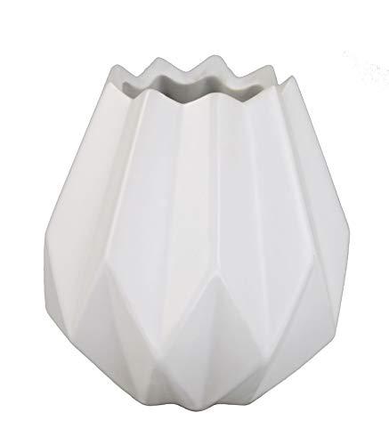 GMMH Pastel Tischvase Vase Blumentopf Origami Design Keramik (weiß 14 cm Hoch)