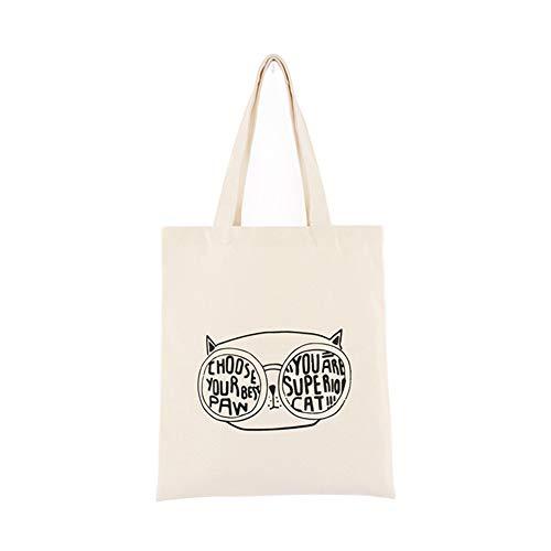 Daaimi Stoffbeutel, Eine Tasche zum Einkaufen,Süße Katze Baumwollbeutel, - Eine perfekte Geschenkidee Geeignet für die Schule, Einkaufen, tägliche Reisen,E