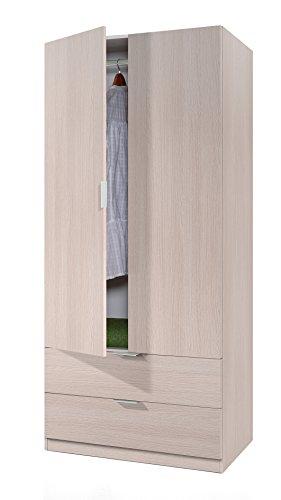 Habitdesign 00X222R - Armario de 2 puertas y 2 cajones, color Roble, medidas: 81x180x52 cm de fondo