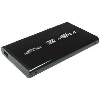 """Aluminium (2,5"""" Zoll) S-ATA HDD USB 2.0 Externes Festplattengehäuse 6,35cm, schwarz"""