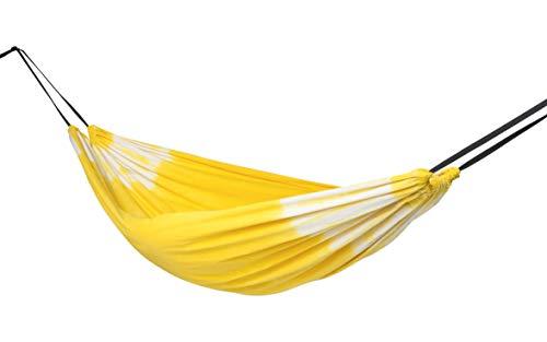 SLOMOCK Hängematte & Strandtuch für 2 Personen, 2 in 1, zu 100% aus Baumwolle in 8 Farben (In- & Outdoor 250 x 145 cm + 2 Seile 250 cm) (GELB) -