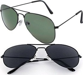Sheomy Unisex Combo Pack of Aviator Sunglasses for Men and Women - Mirrored Sunglasses ( Black-Black-Grey-Green) (CM-NEW-GG-0051)