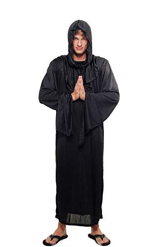 Kostüm Herren Damen Unisex Hexer Henker Schwarzer Magier Dämonischer Priester Kult L047 Größe 52 / L (Scary Kostüm Herren)